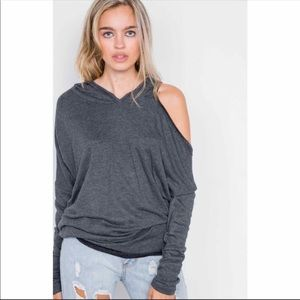 Charcoal relaxed drop shoulder hooded pullover